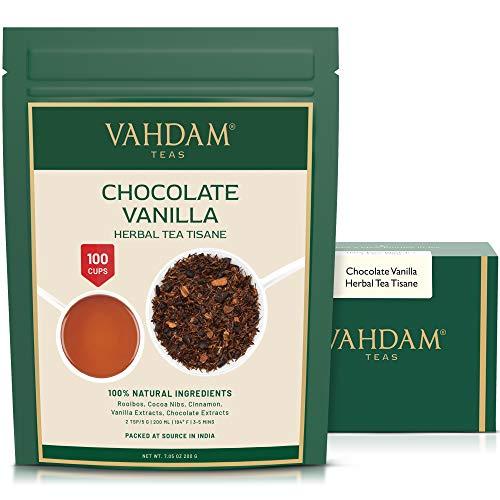 VAHDAM, tisane au chocolat et à la vanille-200g / 100 + tasses / Rooibos + chocolat Artisanal + thé crémeux à la vanille / 100% pur et naturel / Nouvelle gourmandise au chocolat préférée
