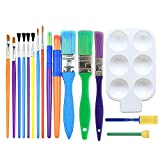 Luoluo Childrens Paint Brushes, 15 Pack Paint Brushes Set Kid Starter Kit with 1 Color Palette for Watercolor, Oil, Acrylic, Crafts, Rock, Face painting, Sponge Paint Brushes for Kids