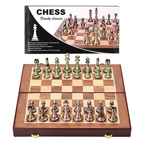 Roeam Schachspiel, Faltbar Holz Schachbrett Metall Schachfiguren Legierung Brettspiel, Geschenk für Männer Frauen, Studie Büro Deko, 11.8 x 11.8 x 10.6 in