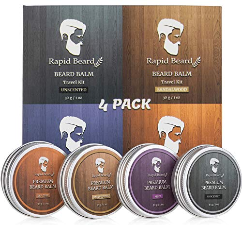 Beard Balm Conditioner 4 Pack - Natural Variety Leave-in Conditioner Wax Butter Gift set for Men -...