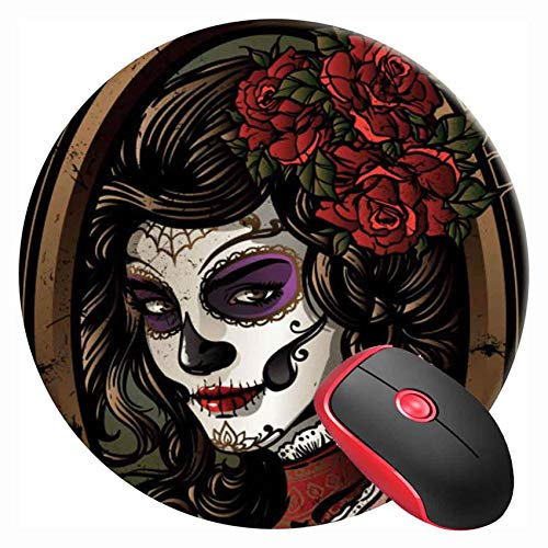 Mouse Pad Round Gaming Mouse Mat Day of Dead Sugar Skull Woman, Non-Slip Rubber Base Mousepad Cute Mousemat for Laptop Computer PC Office Home