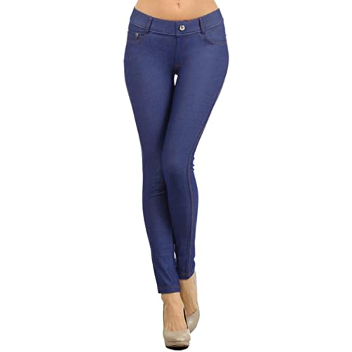 a34bb3a488621 Yelete Women's Basic Five Pocket Stretch Jegging Tights Pants