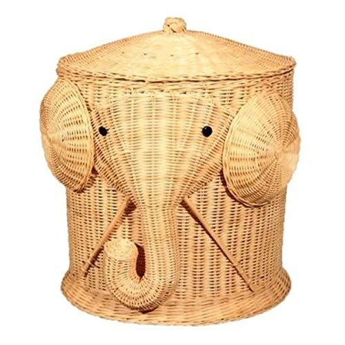 NLYWB Cesto de baño de Animal de Elefante de ratán, cesto de Almacenamiento Tejido en casa con Tapa, cesto de Ropa Grande para cestas de Ropa de Mimbre Hechas a Mano