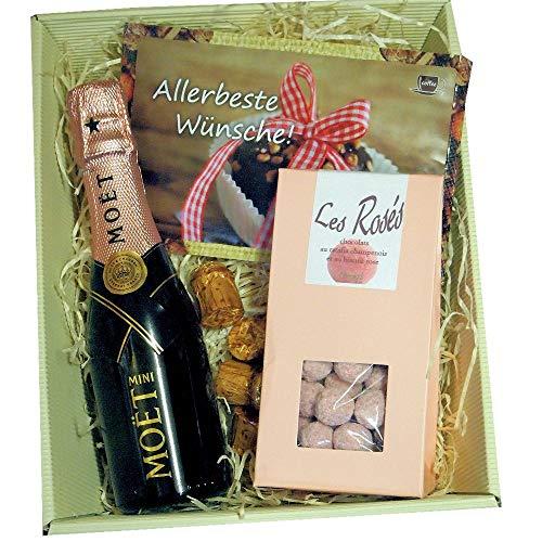 Moet & Chandon Geschenk-Set zum Muttertag mit Piccolo Champagner und Pralinen aus Frankreich