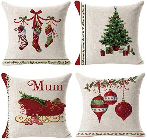 Genfien Fundas de Almohadas de Navidad de 18 x 18 Pulgadas 4PCS Almohadas Decorativas de Navidad para Sofa Lino y Algodón