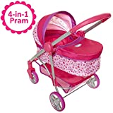 Chicco Baby Doll Stroller, 4-in-1 Pram/Stroller Gift Set, For Baby Dollsup To 18' Tall, Baby Doll Stroller/Pram Play Set, For Girls Ages 3, 4, 5 & 6 Years Old