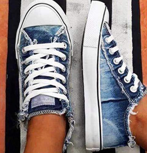 Damen-Leinenschuhe, Denim, dünn, lässig, Frühjahr, Herbst, T-Bond, Low-Top, Freizeit, Studenten, Schuhe, passend für B2, 41