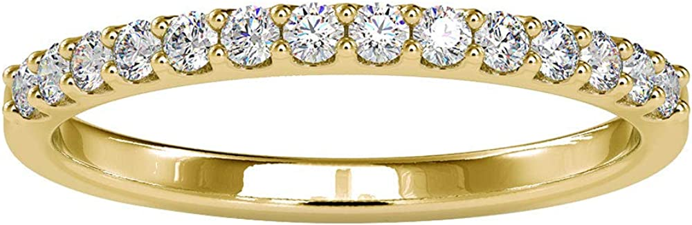 0.28 Ct SGL Certified Diamond Gold Eternity Ring, Statement Women Promise Band Ring, Diamond Bridal Stackable Ring, Unique Wedding Anniversary Ring