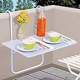 DRULINE Balkontisch Hängetisch Balkon Tisch Weiß/Schwarz Terrassentisch Klapptisch Gartentisch (Weiß)