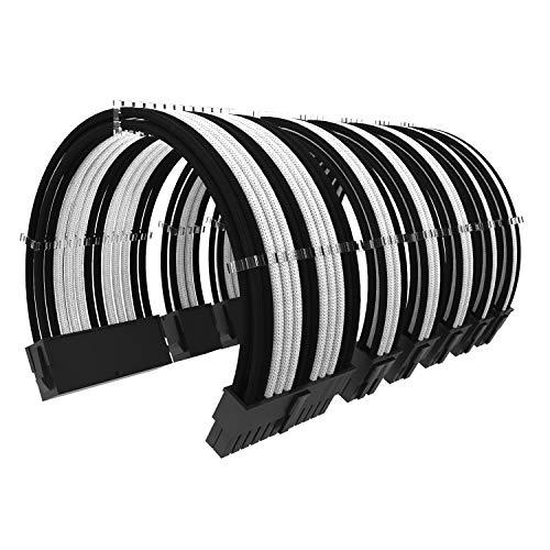ABNO1 Kit di prolunga Cavo PSU Lunghezza 30 cm con pettini Cavo Kit Cavo di Alimentazione prolunga 24 Pin 8 Pin 6 Pin per Alimentatore ATX Sleeved Cables-Nero/Bianco