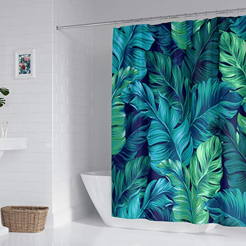 Tropical Shower Curtain Green Plant Palm Leaves Shower Curtains for Bathroom Decor Durable Waterproof Bath Curtain Banana Leaves Jungle Shower Curtain 72x72 Inches, Hooks Included,Machine Washable