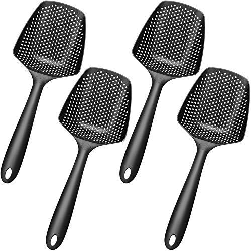 4 Piezas Colador de Cuchara de Nylon Colador de Filtro Antiadherente Grande Colador de Escurridor de Cuchara de Fideos con Mango Largo, Negro