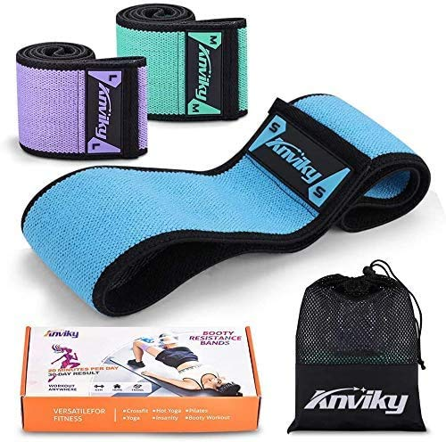 Anviky Booty Bands 2020 Upgraded, Hip Resistance Bands Set Fabric Soft & Non Slip Design for Legs and Butt