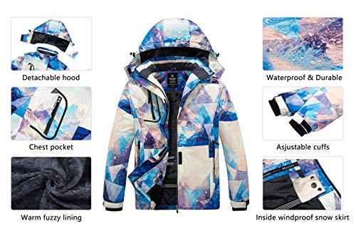 Wantdo Women's Winter Coat Snow Jacket Waterproof Windbreaker Ski Fleece Raincoat Mountain Flora L