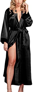 Lutents バスローブ レディース 腰ベルト付き サテン+レース 無地 部屋着 優しい肌触り お風呂上がり ルームウェア ナイトガウン 寝巻き ボディタオル パジャマ 男女兼用 体型カバー ロング ガウン カップルバスローブ バスグッズ
