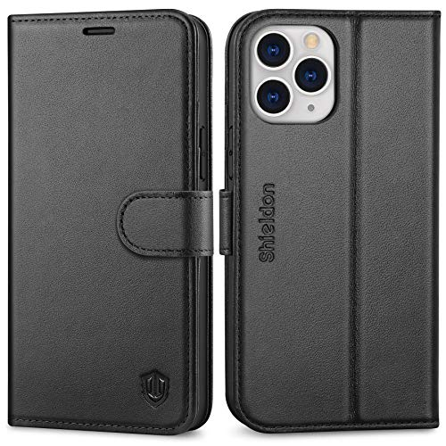 SHIELDON Case for iPhone 12 Pro Max, Genuine Leather Wallet Case for iPhone 12 Pro Max Magnetic Cover RFID Blocking Card Holder Shockproof Case Compatible with iPhone 12 Pro Max 5G (6.7