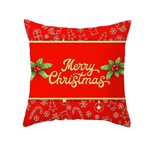 Fundas de Cojín Decorativos Navidad roja Cuadradas Terciopelo Suave Funda de Almohada Cubierta para Cojines Sofá Sala de Estar Dormitorio Cama Decor Throw Pillow Case Pillowcase+core,45x45cm T2939