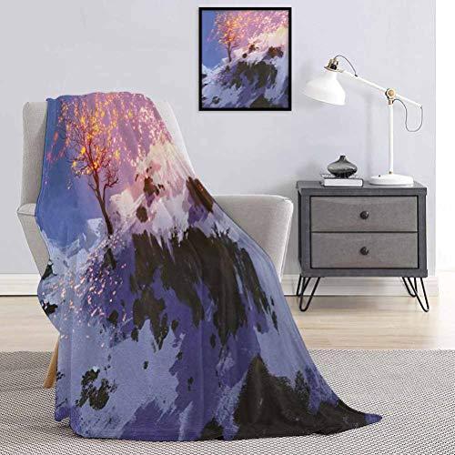 Toopeek Fantasy - Manta de franela con diseño de árbol desnudo, diseño idílico de invierno con impresión de nieve, súper suave y cómoda, manta de cama de lujo de 60 x 50 pulgadas, multicolor