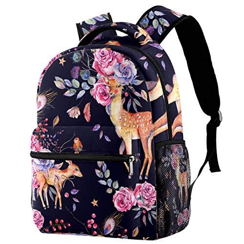 Mochila para Viaje Ciervo Rosa Mochila para Adolescentes Mochila Escolar Impresión Bolsa para la Escuela Backpack para Escuela Viajes Deportes 29.4x20x40cm