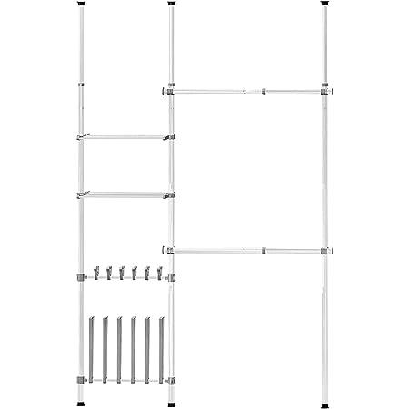 Costway Garde-Robe Télescopique, Cintre Ajustable, Tige de Tension du Sol au Plafond avec Crochets à Chaussure, Système d'Organisateur de Placard Télescopique pour Salon, Chambre (Modèle 3)