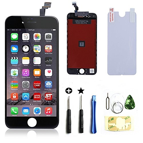 WEELPOWER Black LCD Display Replacement Screen Digitizer Touch Screen Assembly for iPhone 6 with Repair Tool(Black)