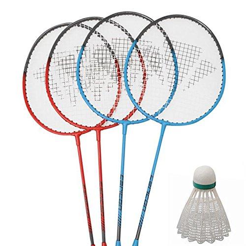 Carlton Unisex 4 Spieler Badminton Set Schläger & Federball Netz & Poles Tasche