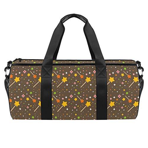 LAZEN Hombro Handy Sports Gym Bags Travel Duffle Totes Bag para Hombres Mujeres Amarillo Naranja Estrellas Patrón Noche