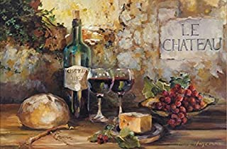 Buyartforless Le Chateau - Wine and Cheese and Grapes by Marilyn Hageman 36x24 Tuscan Art Print Poster
