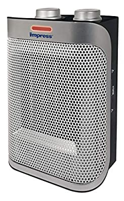 Impress Space Heater with a Ceramic Element | Fan | 750w and 1500w Settings | Adjustable Thermostat | Safety Switch | Modern Look | More