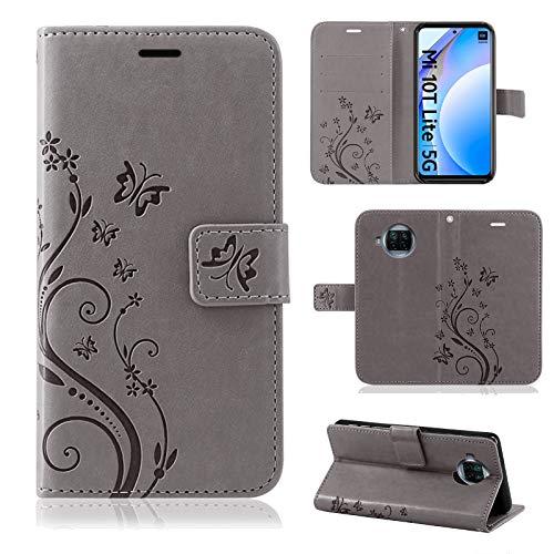 betterfon   Xiaomi Mi 10T Lite Hülle Handy Tasche Handyhülle Etui Wallet Hülle Schutzhülle mit Magnetverschluss/Kartenfächer für Xiaomi Mi 10T Lite Grau