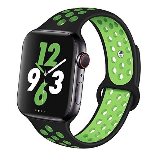Marca generica Octoway Bracelet en silicone compatible pour Apple Watch 42 mm 44 mm Noir Vert