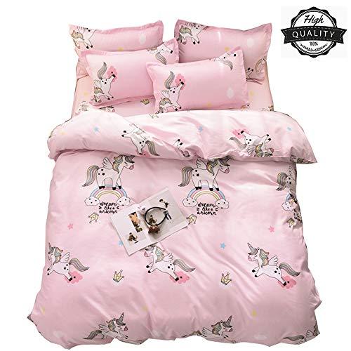 Odot Einhorn Bettbezug Bettwäsche-Set 3 TLG, Mikrofaser Atmungsaktive Erwachsener Mädchen Bettbezug mit Verdeckter Reißverschluss und Kissenbezuge (155x220cm + 2 Kissenbezug 50x75cm,Rosa Regenbogen)