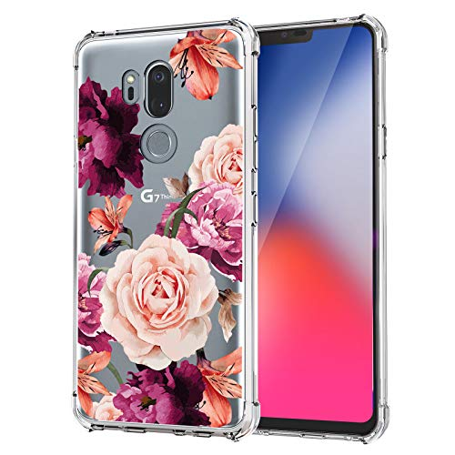 KIOMY Case for Girls Women Clear with Purple Flowers Design Shockproof Protective Cell Phone Back Cover Compatible with LG G7 ThinQ Flexible Slim Fit Soft Gel Rubber Cute Floral Girly
