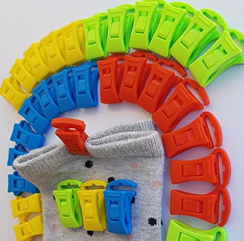 Alcrea 32 Mollette. CLIP PER CALZINI in Lavatrice, Asciugatrice, molto comode da appendere smistare e da inserire nel cassetto. In 4 colori, plastica senza acciaio, con gancio per stendibiancheria