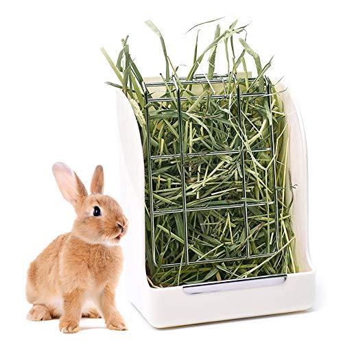 falllea Heno Alimentador Comedero para Conejo Alimentador de Heno para Conejillo Alimentador Hierba Estante del Alimentador de Heno Alimentador para Conejillo Dispensador de Alimentos (Blanco)