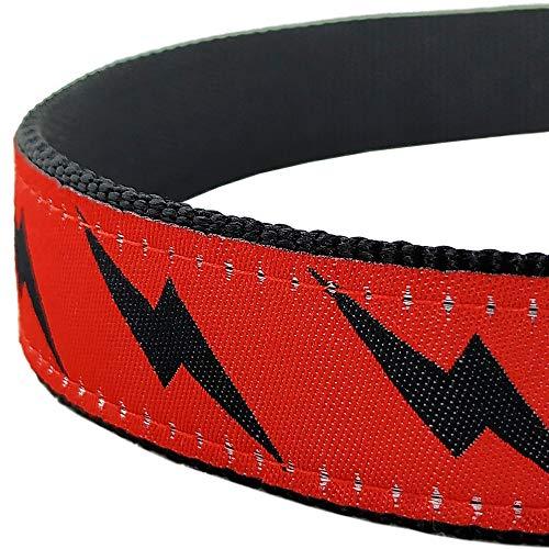 Bestbuddy Pet Large Neck 18'-26' Lightning Bolt Super Pet Nylon Ribbon Dog Collar Pet Collar Trendy Comfortable Adjustable Dog Collar with Buckle BBP050-L