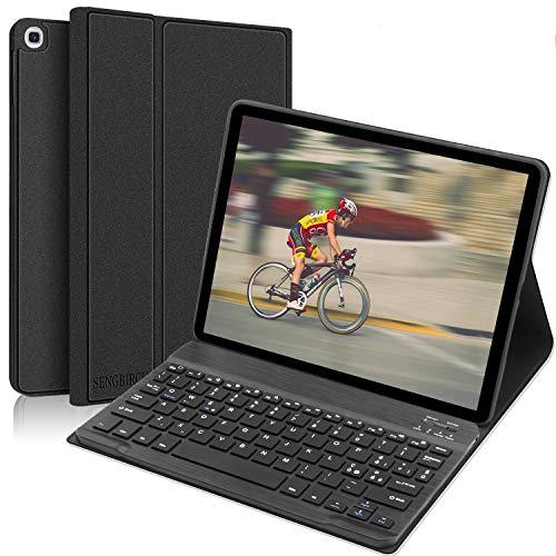 SENGBIRCH Tastiera Custodia per Samsung Galaxy Tab A 10.1 2019 Tablet, Tastiera Italiano Bluetooth Wireless con Custodia Smart Stand Supporto con Auto Sonno/Sveglia per Samsung T510/T515, Nero