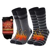 Heavy Thermal Socks, RTZAT Men's Extremes Cold Weather Boot Socks Warm Winter Slipper Socks Fleece Lined Heated Socks Men Insulated Socks Warming Socks Cold Feet, Large, 2 Pairs, Black