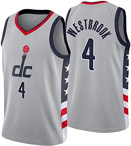 WHYYT Jerseys de Baloncesto de la NBA de los Hombres - NBA Washington Wizards # 4 Russell Westbrook Jersey - Cómoda Camiseta de Malla Bordada Transpirable,A,XL(180~185CM/85~95KG)