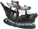 aipipl Adorno Creativo Resina Barco de Pesca Roto Paisajismo Tanque de Peces Decoración de Acuario Deacute; Adornos de Cor