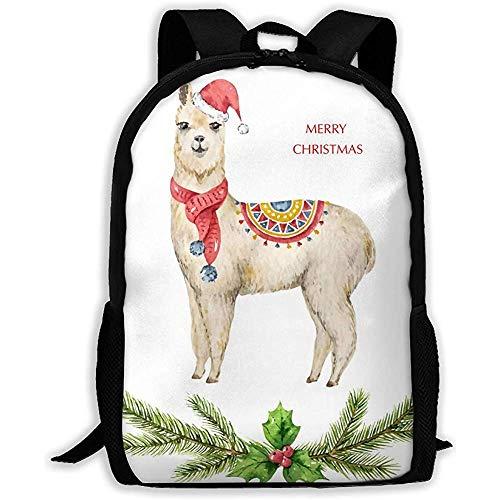 Rucksack Aquarell Weihnachtskarte Lama oder Alpaka Bookbag Casual Reisetasche für Teen Boys Girls