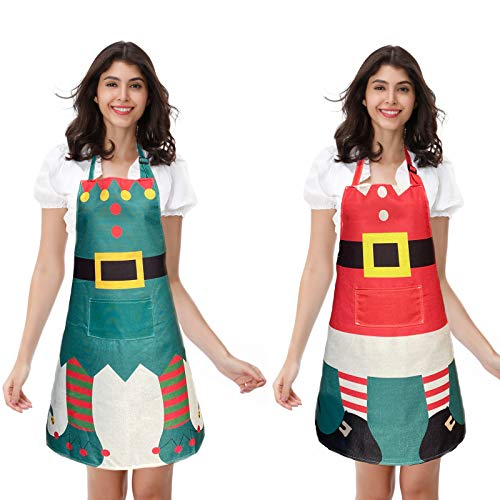 DailyValley 2PACKS Christmas Elf Apron and Santa Claus Apron for Xmas Party Costume Supplies Kitchen, Elf&Santa Claus Style A