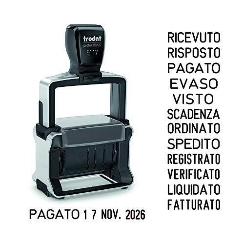 Trodat 5117 Professional Datario Polinome autoinchiostrante – 12 testi commerciali, Colore inchiostro: nero – Piastra di testo max 48 x 4 mm