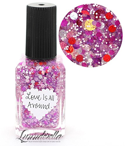 Lynnderella Valentines Day Pink and Red Multi Glitter Nail Polish—Love Is All Around