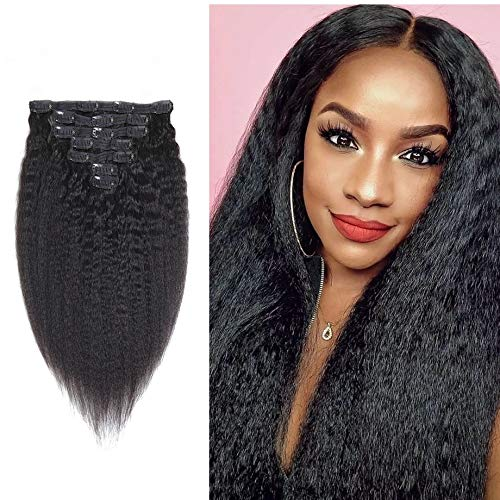 Brazilian kinky staight Clip In Hair Extensions 7pcs 120g/pck Italian Yaki Clip In Hair Extensions Brazilian Virgin Human Hair Clip Ins Natural Black Color (16inch, kinky straight clip in)