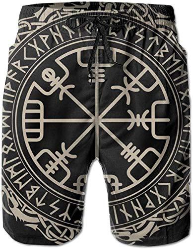 Swim Trunks Black Celtic Viking Design Magical Runic Compass Mens Board Shorts Swimwear Beachwear Beach Shorts Athletic Shorts Quick Dry Shorts Swimming Trunks for Men