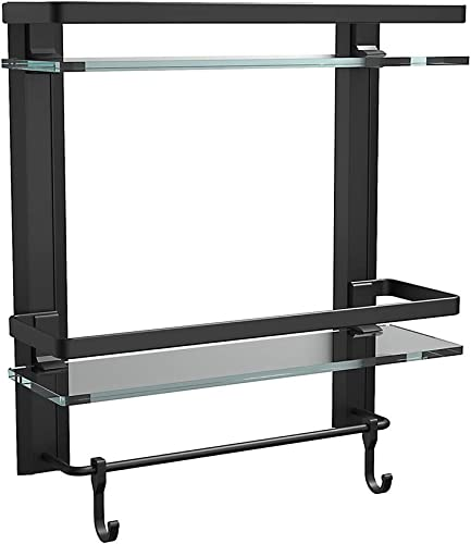 high quality FORIOUS 2 Tier Glass Bathroom Shelf Organizer, Bathroom outlet sale Wall Shelf with Hooks, Matte Black Bathroom Shelf Wall Mounted, Anodized Aluminum 15.2 by 5 inches Shower Shelves with Towel new arrival Bar outlet online sale