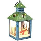 I Go Lanterna di Natale Lanterna Decorativa con Pupazzo di Neve, Rustico, Metallo Dipinto a Mano e Vetro Decorazioni per la tavola di Natale Regalo di Natale Blu Verde