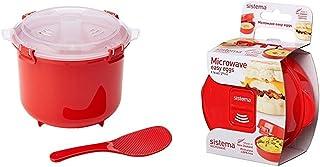 Sistema Olla de Vapor para Arroz, Color Rojo + Apta para microondas fácil de Huevos, 270 ml, cocinar Tortilla