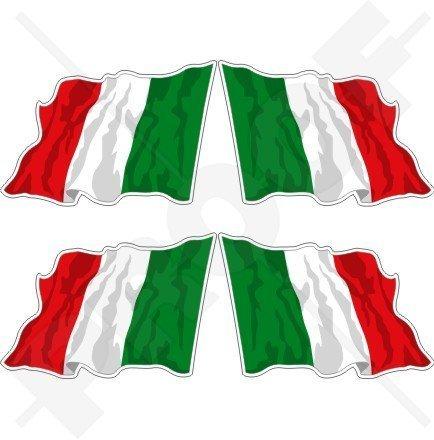 ITALIEN Italienische Wehende Flagge ITALIEN 50mm Auto & Motorrad Aufkleber, x4 Vinyl Stickers (Links - Rechts)